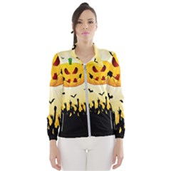 Halloween Pumpkin Bat Party Night Ghost Wind Breaker (women)