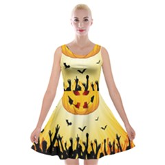 Halloween Pumpkin Bat Party Night Ghost Velvet Skater Dress