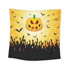 Halloween Pumpkin Bat Party Night Ghost Square Tapestry (small) by Alisyart