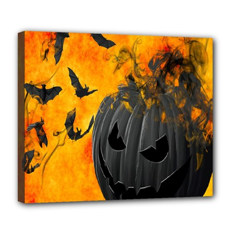 Halloween Pumpkin Bat Ghost Orange Black Smile Deluxe Canvas 24  X 20   by Alisyart