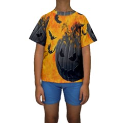 Halloween Pumpkin Bat Ghost Orange Black Smile Kids  Short Sleeve Swimwear