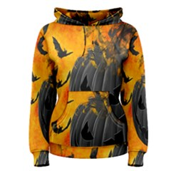 Halloween Pumpkin Bat Ghost Orange Black Smile Women s Pullover Hoodie