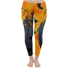 Halloween Pumpkin Bat Ghost Orange Black Smile Classic Winter Leggings