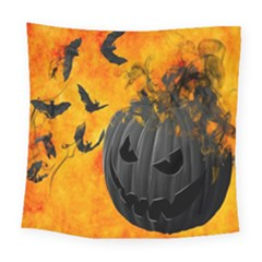 Halloween Pumpkin Bat Ghost Orange Black Smile Square Tapestry (large)