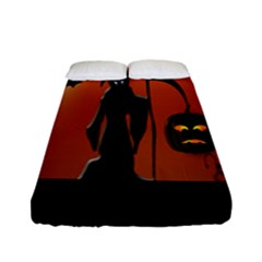 Halloween Sinister Night Moon Bats Fitted Sheet (full/ Double Size) by Alisyart