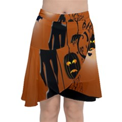 Halloween Sinister Night Moon Bats Chiffon Wrap