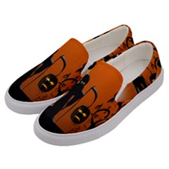 Halloween Sinister Night Moon Bats Men s Canvas Slip Ons by Alisyart