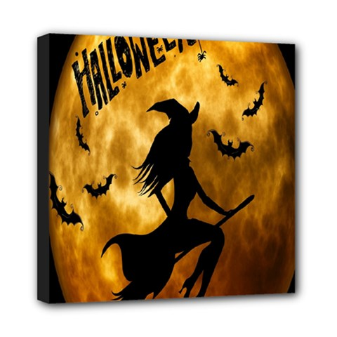 Halloween Wicked Witch Bat Moon Night Mini Canvas 8  X 8  by Alisyart