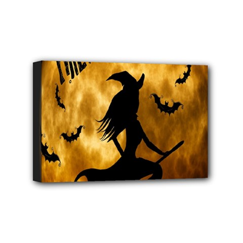 Halloween Wicked Witch Bat Moon Night Mini Canvas 6  X 4  by Alisyart