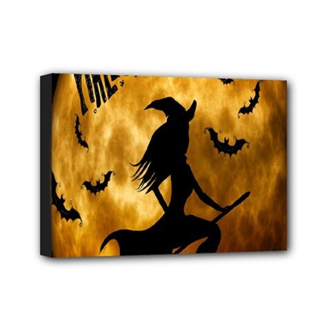 Halloween Wicked Witch Bat Moon Night Mini Canvas 7  X 5  by Alisyart
