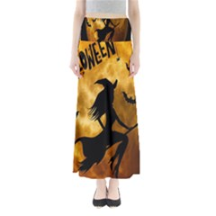 Halloween Wicked Witch Bat Moon Night Full Length Maxi Skirt by Alisyart