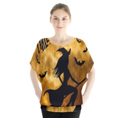 Halloween Wicked Witch Bat Moon Night Blouse by Alisyart