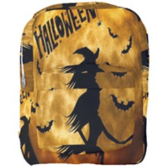 Halloween Wicked Witch Bat Moon Night Full Print Backpack by Alisyart