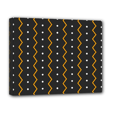 Halloween Zigzag Vintage Chevron Ornamental Cute Polka Dots Deluxe Canvas 20  X 16   by Alisyart
