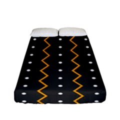 Halloween Zigzag Vintage Chevron Ornamental Cute Polka Dots Fitted Sheet (full/ Double Size) by Alisyart