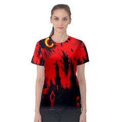 Big Eye Fire Black Red Night Crow Bird Ghost Halloween Women s Sport Mesh Tee