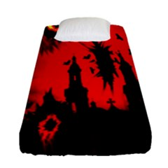 Big Eye Fire Black Red Night Crow Bird Ghost Halloween Fitted Sheet (single Size) by Alisyart