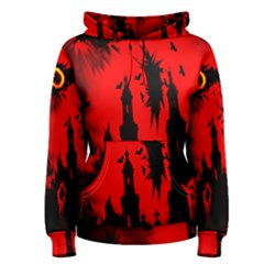 Big Eye Fire Black Red Night Crow Bird Ghost Halloween Women s Pullover Hoodie
