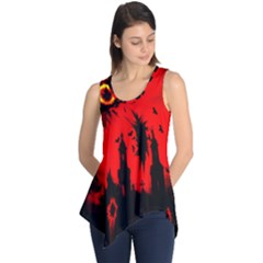Big Eye Fire Black Red Night Crow Bird Ghost Halloween Sleeveless Tunic