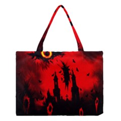 Big Eye Fire Black Red Night Crow Bird Ghost Halloween Medium Tote Bag