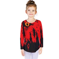 Big Eye Fire Black Red Night Crow Bird Ghost Halloween Kids  Long Sleeve Tee by Alisyart