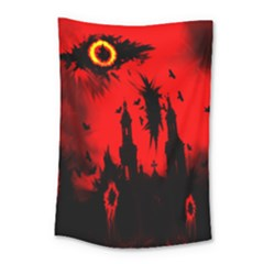 Big Eye Fire Black Red Night Crow Bird Ghost Halloween Small Tapestry by Alisyart