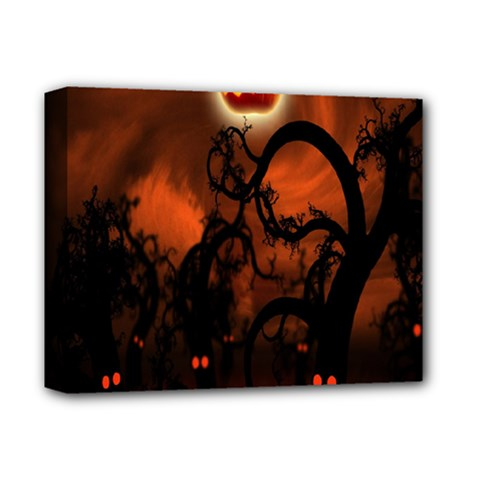 Halloween Pumpkins Tree Night Black Eye Jungle Moon Deluxe Canvas 14  X 11  by Alisyart