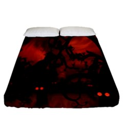 Halloween Pumpkins Tree Night Black Eye Jungle Moon Fitted Sheet (queen Size) by Alisyart