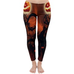 Halloween Pumpkins Tree Night Black Eye Jungle Moon Classic Winter Leggings