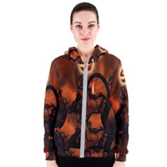 Halloween Pumpkins Tree Night Black Eye Jungle Moon Women s Zipper Hoodie