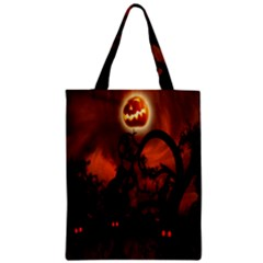 Halloween Pumpkins Tree Night Black Eye Jungle Moon Zipper Classic Tote Bag
