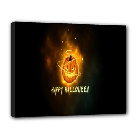 Happy Halloween Pumpkins Face Smile Face Ghost Night Canvas 14  X 11  by Alisyart