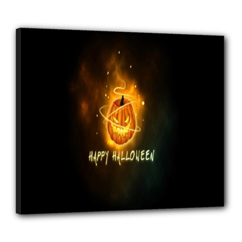 Happy Halloween Pumpkins Face Smile Face Ghost Night Canvas 24  X 20  by Alisyart