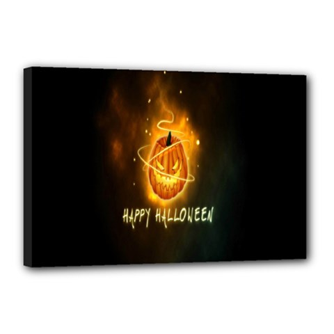 Happy Halloween Pumpkins Face Smile Face Ghost Night Canvas 18  X 12  by Alisyart