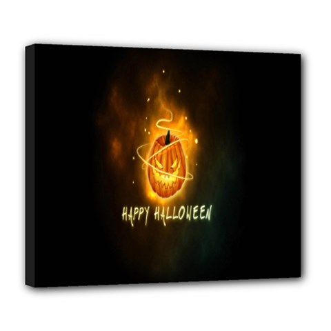 Happy Halloween Pumpkins Face Smile Face Ghost Night Deluxe Canvas 24  X 20