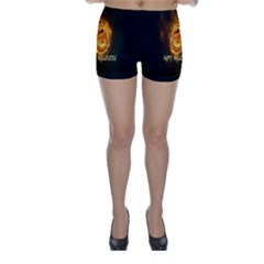 Happy Halloween Pumpkins Face Smile Face Ghost Night Skinny Shorts by Alisyart
