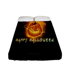 Happy Halloween Pumpkins Face Smile Face Ghost Night Fitted Sheet (full/ Double Size) by Alisyart