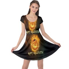 Happy Halloween Pumpkins Face Smile Face Ghost Night Cap Sleeve Dress