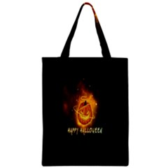 Happy Halloween Pumpkins Face Smile Face Ghost Night Zipper Classic Tote Bag