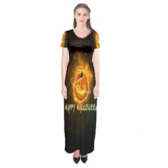 Happy Halloween Pumpkins Face Smile Face Ghost Night Short Sleeve Maxi Dress