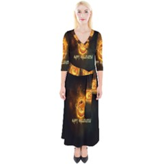 Happy Halloween Pumpkins Face Smile Face Ghost Night Quarter Sleeve Wrap Maxi Dress