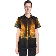 Happy Halloween Pumpkins Face Smile Face Ghost Night Women s Short Sleeve Shirt