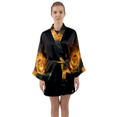 Happy Halloween Pumpkins Face Smile Face Ghost Night Long Sleeve Kimono Robe by Alisyart