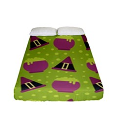 Hat Formula Purple Green Polka Dots Fitted Sheet (full/ Double Size) by Alisyart