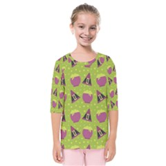 Hat Formula Purple Green Polka Dots Kids  Quarter Sleeve Raglan Tee by Alisyart