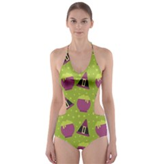 Hat Formula Purple Green Polka Dots Cut Out One Piece Swimsuit