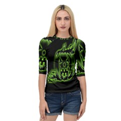 Pumpkin Black Halloween Neon Green Face Mask Smile Quarter Sleeve Raglan Tee