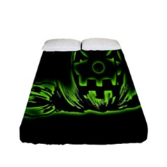 Pumpkin Black Halloween Neon Green Face Mask Smile Fitted Sheet (full/ Double Size)