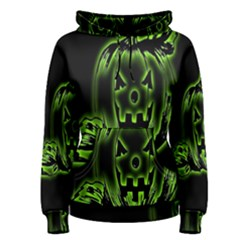 Pumpkin Black Halloween Neon Green Face Mask Smile Women s Pullover Hoodie
