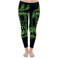 Pumpkin Black Halloween Neon Green Face Mask Smile Classic Winter Leggings